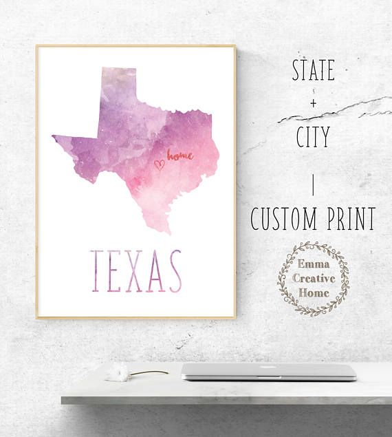Customized Print State Map Home City Print Favorite City