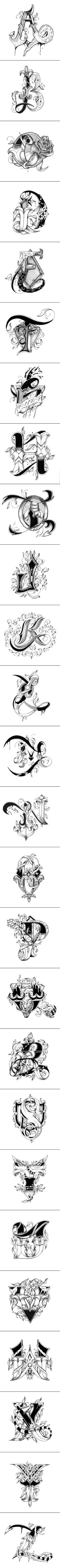 Love Letters Alphabet Hand Drawn by Raul Alejandro