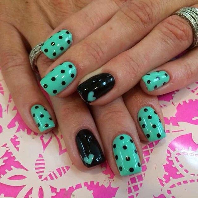 But opposite.only one polka dot nail and the rest black - Best 25+ Polka Dot Nails Ideas On Pinterest Fun Nail Designs