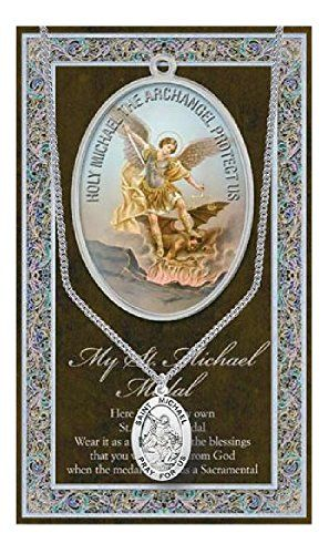 St Michael Pendant Medal on 18 Inch Stainless Steel Chain with Prayer -- Click image for more details. (This is an affiliate link and I receive a commission for the sales)