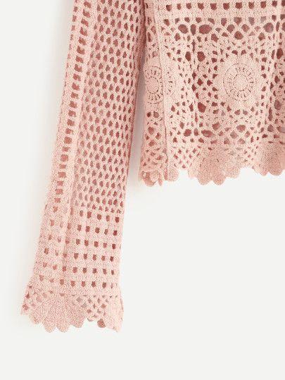 Blusa hueca de croché - rosa-Spanish SheIn(Sheinside) Sitio Móvil