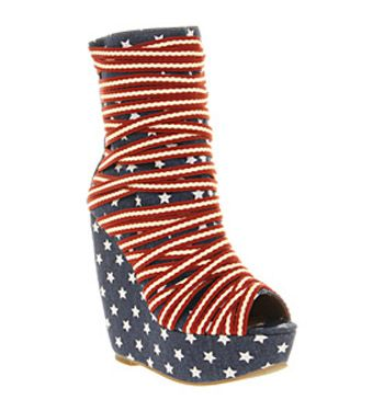 Jeffrey Campbell Ping Pong Wedge Ankle Bt Stars Stripes - High Heels