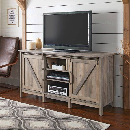 Better Homes and Gardens Modern Farmhouse Entertainment Credenza for TVs up to 60 inch, Rustic Gray Finish