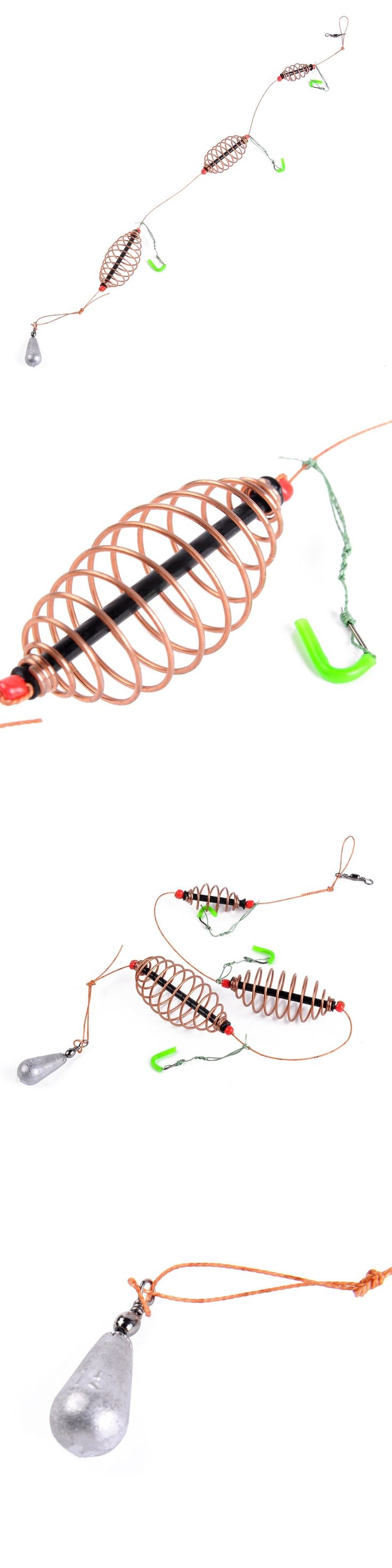 2016 New 1pcs/Pack 15g 20g 30g Fishing Bait Cage lead sinker Swivel With Line Hooks For Carp Feeder Fishing Tackle Accessories