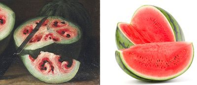 Ripe research for a time travel writer! 500 years of studying how food has changed? YES, PLEASE! Renaissance paintings reveal how breeding changed watermelons and other fruits & veggies. #history #food #awesome