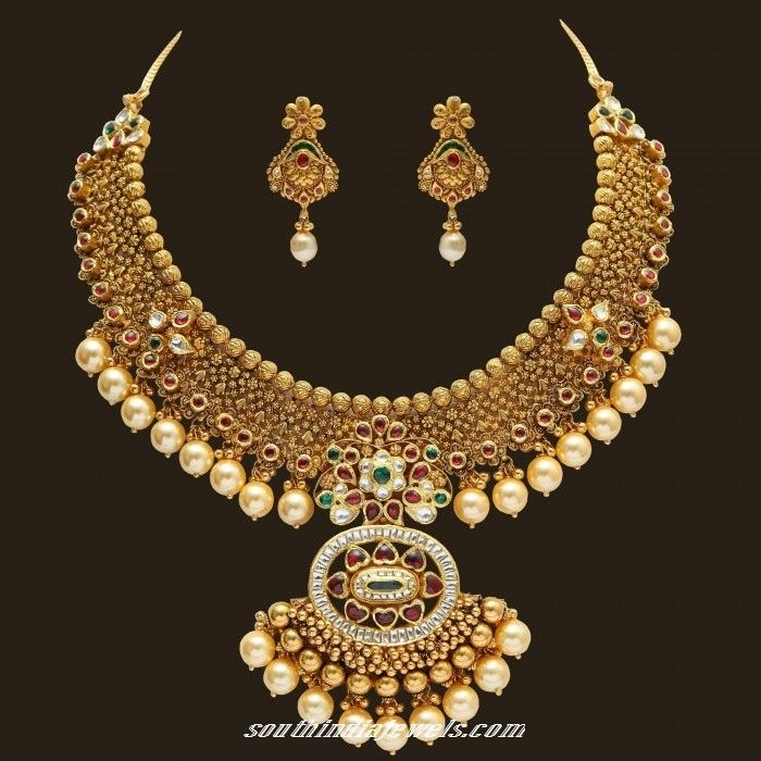 GRT Jewellers Gold Peacock necklace set ~ South India Jewels