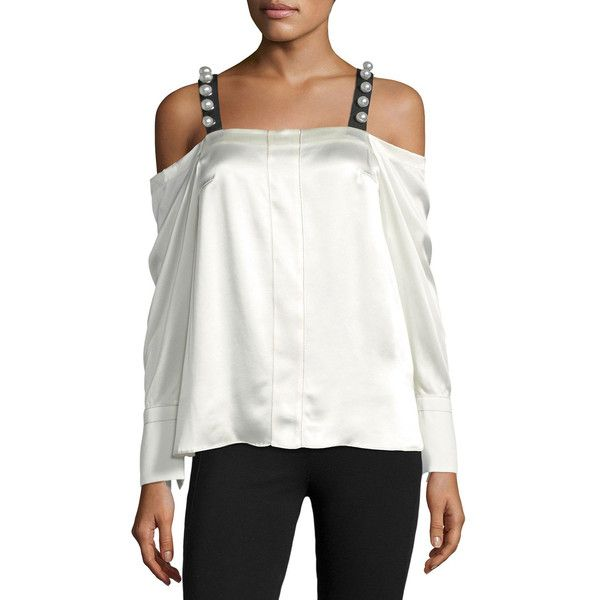 3.1 Phillip Lim Cold-Shoulder Satin Top w/ Pearlescent Straps ($495) ❤ liked on Polyvore featuring tops, cream, white beaded top, white tops, cut-out shoulder tops, white long sleeve top and long sleeve tops