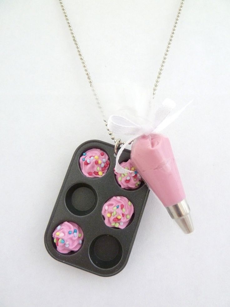 "The Bakers Necklace "" Who Ate My Cupcakes"" Miniature Cupcake Muffin Pan with fake cupcake frosting and and pink Pastry Bag charm. $21.99, via Etsy."