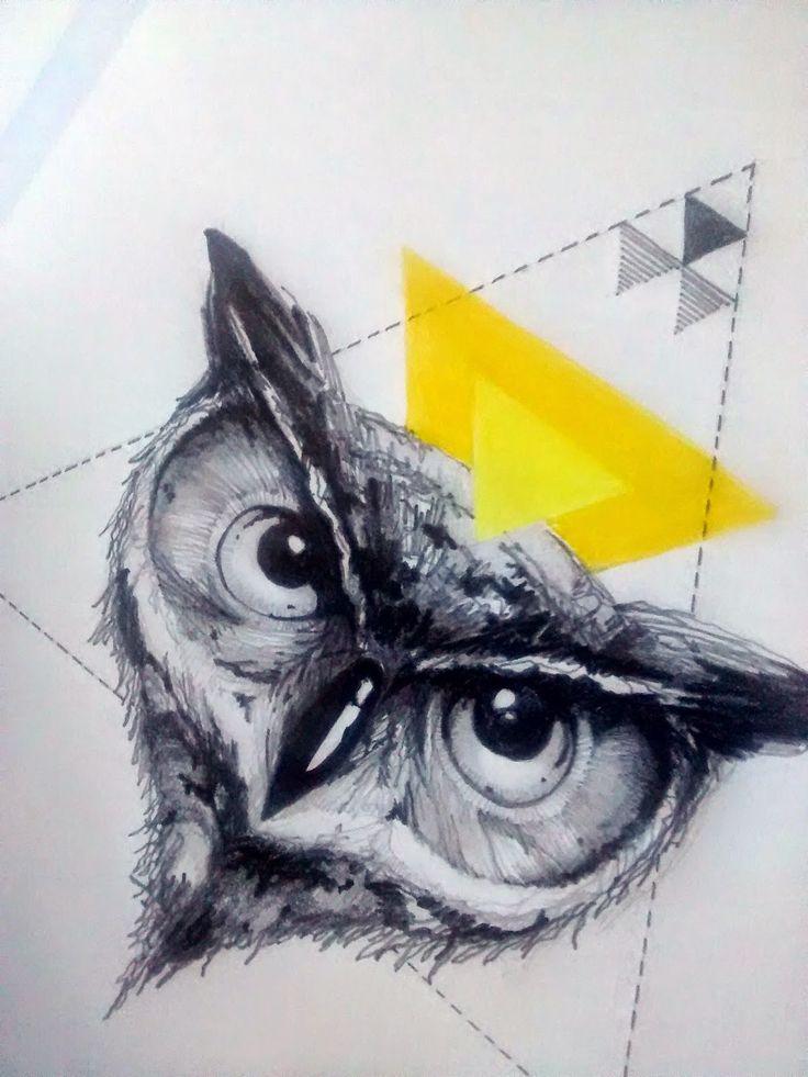 #Sketch #Owl, #tattoo ideas. Freehand #illustration