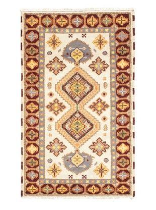 55% OFF Hand-Knotted Royal Kazak Wool Rug, Cream, 3' 2