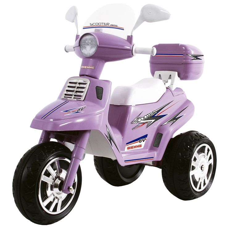 Mini scooter elétrica 6v city lilás com 2 marchas - biemme