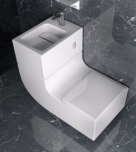 Combined loo and basin- Made by  Roca this is called the W+W (washbasin and watercloset) #bathroom #smallspace