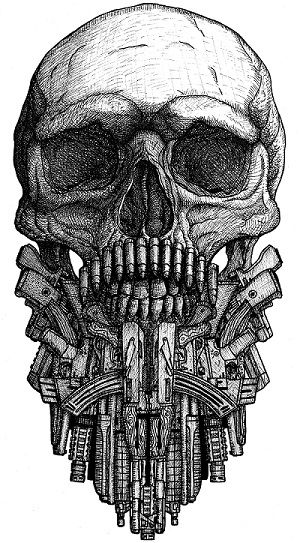 Skull with beard from various guns. Commision for a client. Pen & Ink. Copyright © Darius Molotokas 2016