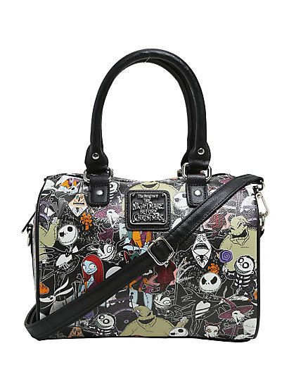 Loungefly The Nightmare Before Christmas Character Print Faux Leather Barrel BagLoungefly The Nightmare Before Christmas Character Print Faux Leather Barrel Bag,
