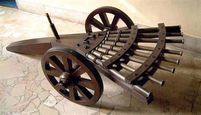 Inventos de Da Vinci,Este diseño tampoco fue construido en los tiempos de Da Vinci, y recién en el año 1862, apareció la primera ametralladora moderna en el campo de batalla, durante la Guerra Civil de Estados Unidos.