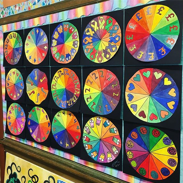 Complementary Color Wheels By 7th And 8th Graders To Brighten Your Day Colortheory Middleschoolart
