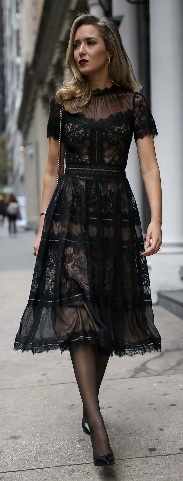 Black pleated a-line tea-length lace dress with scallop hem, pointy toe black patent pump, black sheer tights, black shoulder bag with gold chain, deep red lip {Saint Laurent, Gucci, Tadashi Shoji, cocktail attire, semi-formal dress, winter wedding style, classic dress, fashion blogger}