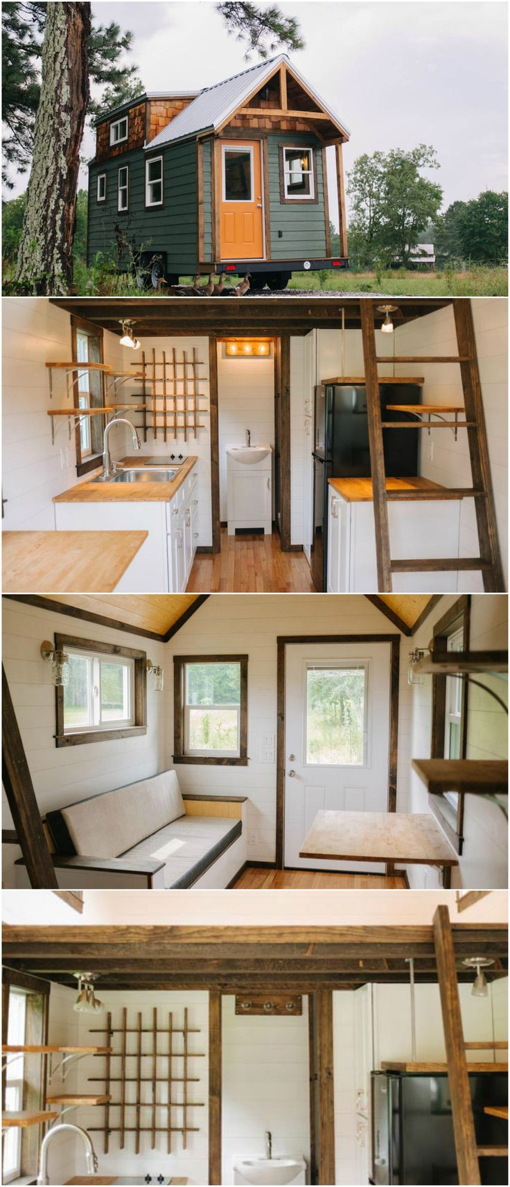 The Acadia is an amazing tiny house built by Wind River Tiny Homes.  The 24′ tiny home features a traditional gable roof, large dormers, and a small front porch. The modern/rustic interior has white shiplap walls and dark wood trim. The flooring and ceiling have natural wood finishes.  The kitchen is equipped with a two burner electric cooktop, apartment size refrigerator, full height pantry, and butcher block counters.
