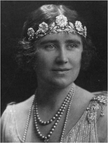 Lady Elizabeth Bowes-Lyon (Queen Elizabeth, the Queen Mother) wearing the Strathmore Rose Tiara.