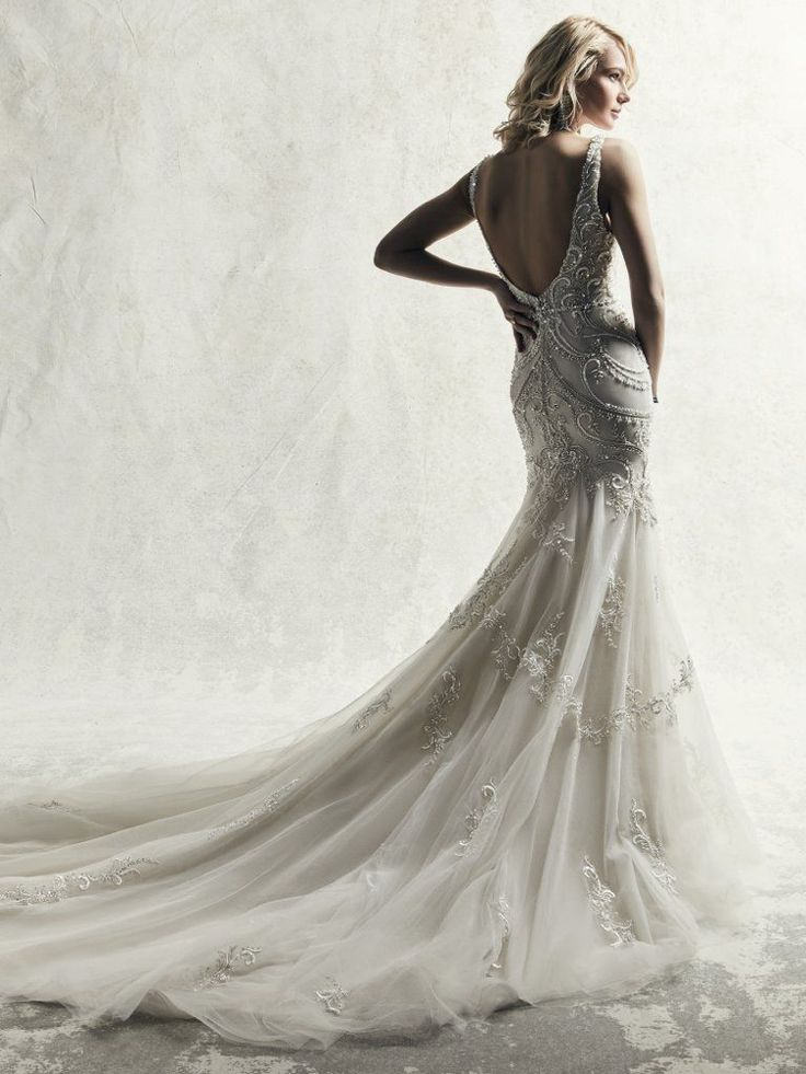 Fully Beaded Sleeveless Fit And Flare Wedding Dress