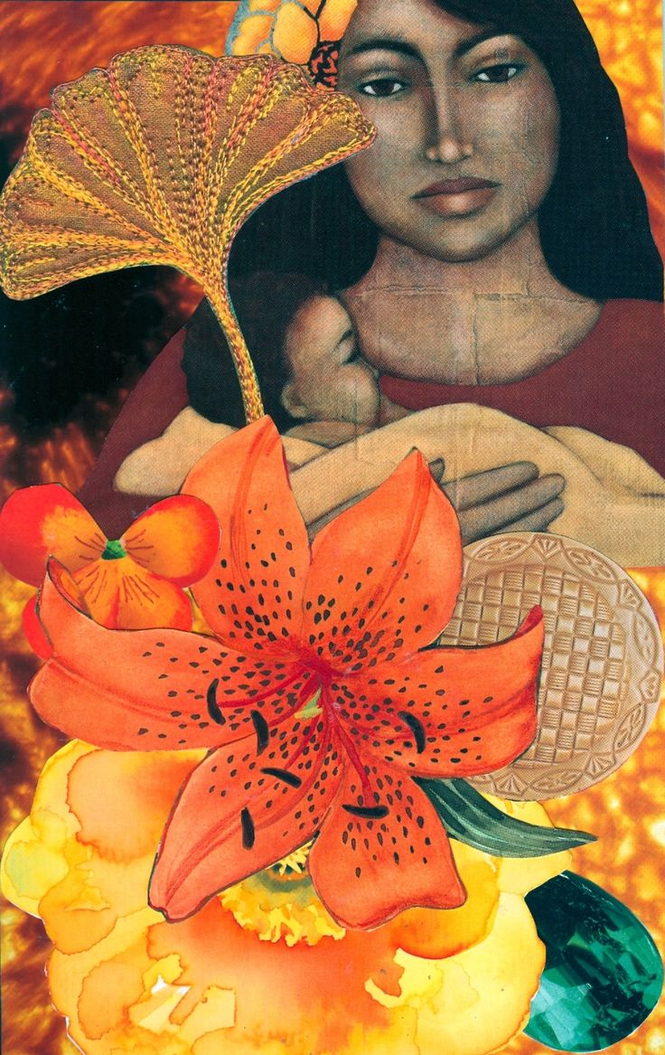 SoulCollage - Our Lady of the Pacific - Council suit. I am one whose favorite art theme is the divine feminine. I like to portray her all around the world, cross-culturally. She is a positive powerhouse of universal healing in all her portrayals.