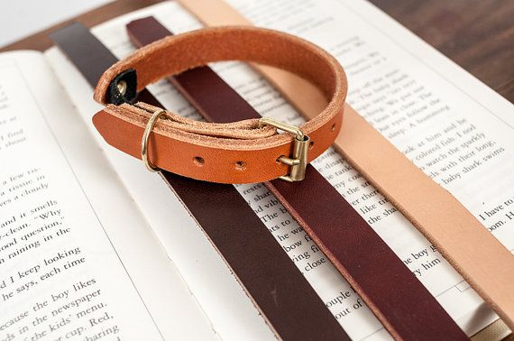 Leather+Cat+Collar+in+Honey+with+Brass+by+HunterPassLeather,+$32.00