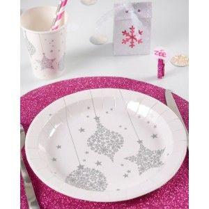 assiette carton flocon de neige pas chre assiette flocon de neige argent carton blanc ronde - Assiette Jetable Mariage