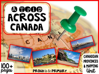 Proud to be Primary: A Trip Across Canada ~ Canadian Province, Territories, & Mapping unit has 135 pages of social studies activities to teach your students about the 13 Canadian province and territories and about Canadian geography and mapping! www.proudtobeprimary.com