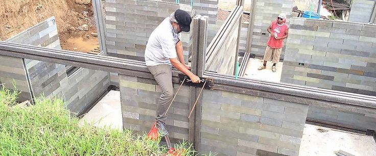 Colombian company Conceptos Plásticos recycles plastic into disaster-resistant building blocks families can use to easily build their own homes.