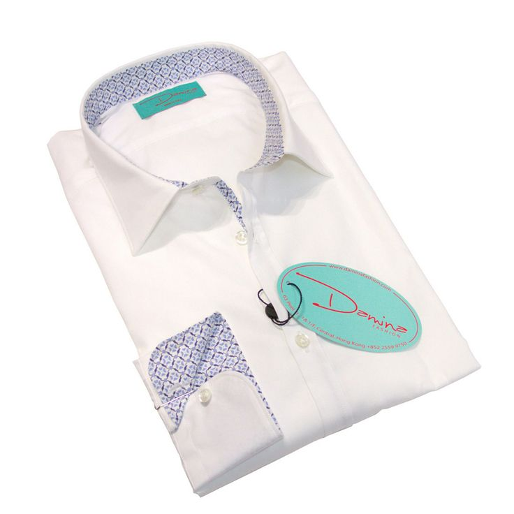 White blue filigree shirt 100% Cotton  Made in Italy