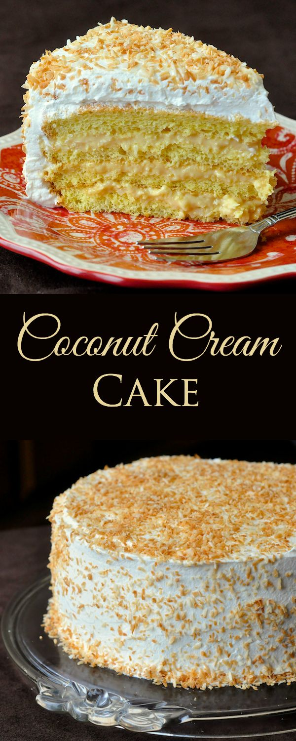 Coconut Cream Cake - a light tender homemade sponge cake gets filled with multiple layers of rich coconut cream filling before being covered completely in vanilla whipped cream and toasted coconut.