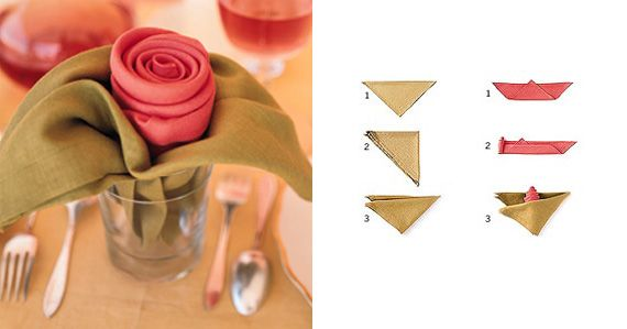 rose napkin for party