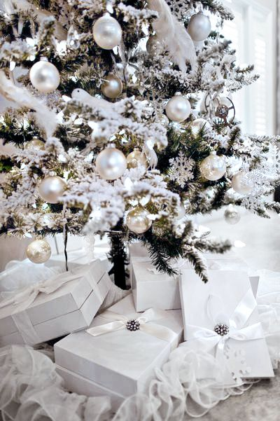 a white cottage christmas - White Christmas Decorations