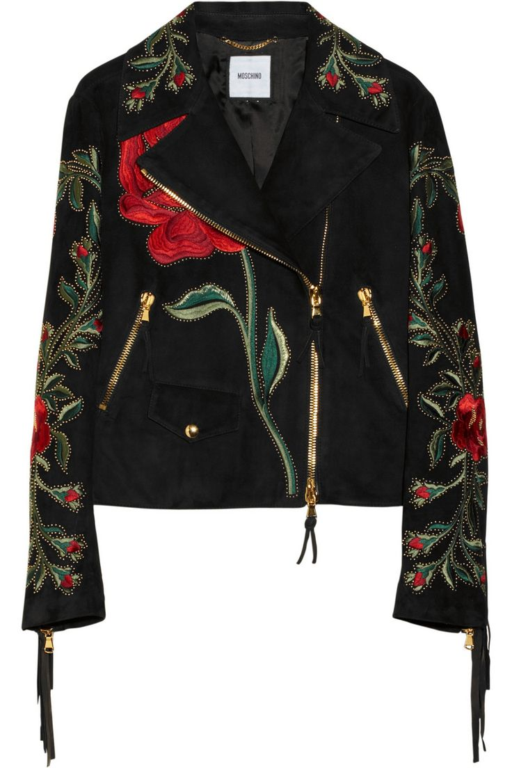 Moschino|Fringed embroidered suede biker jacket|NET-A-PORTER.COM