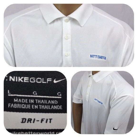 Nike Dry-Fit Men's Polo Golf Shirt Short Sleeve White Size L Printed NTT DATA  #NikeGolf #PoloRugby #NikeDryFitMensPoloGolfShirt
