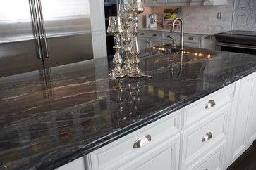 White Silver Granite Countertop : Traditional Silver Wave Granite White Cabniets Kitchen Design Ideas ...