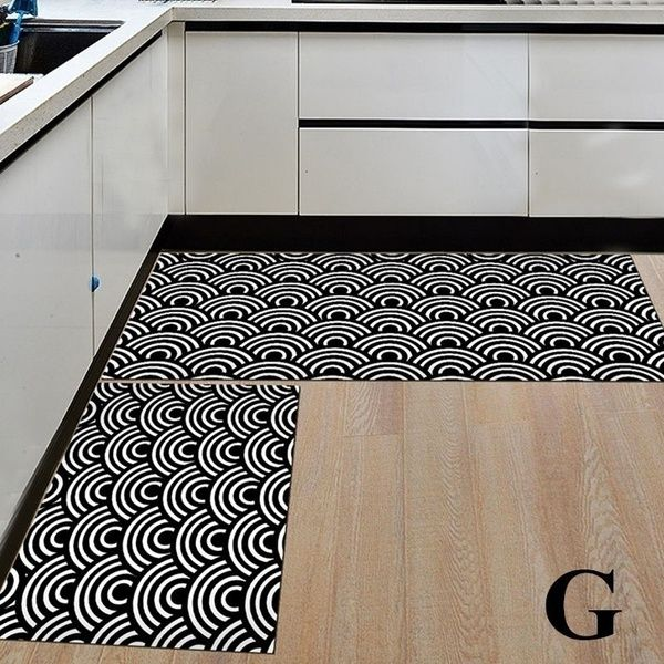 2pcs Set Creative Anti Slip Kitchen Rug Geometric Cartoon Style