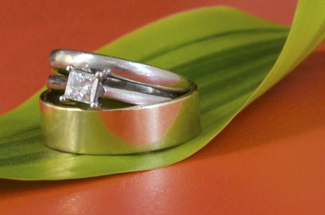 wedding rings close up shot...wanted a picture for a 'coral wedding anniversary' greetings card I was making