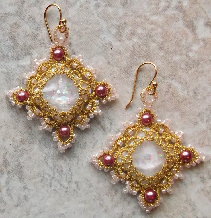 Pinky Earrings        I loved yesterday design and had to make it again.  This time I made it with pink and rose colored beads and added gold-filled earwires.  for sale on face bk:  West Pine Creations.