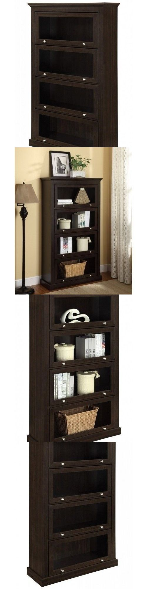 Bookcases 115749: 4-Shelf Display Bookcase Shelves Media Barrister Cabinets Storage Glass Doors -> BUY IT NOW ONLY: $174.95 on eBay!