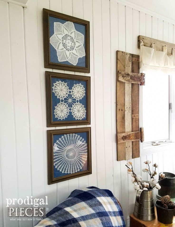 Farmhouse Wall Art Using Framed Doilies and Thrifted Finds by Prodigal Pieces | prodigalpieces.com