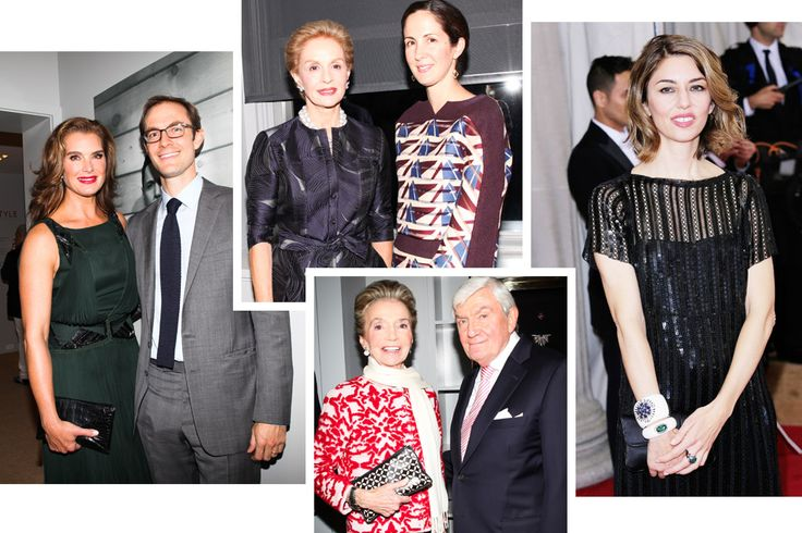"""Longtime Verdura friends and clients who attended October's """"Power of Style"""" launch party include, clockwise from above: Brooke Shields (with Nico Landrigan); Carolina Herrera and her daughter, Patricia Lansing (the exhibition's co-curators); Lee Radziwill (with Ward Landrigan). Photos by Sam Deitch/BFAnyc.com. Verdura still enjoys a loyal following among stylish celebrities, among them Sofia Coppola, who was photographed last May wearing two of the jeweler's cuffs. Photo by Randy…"""