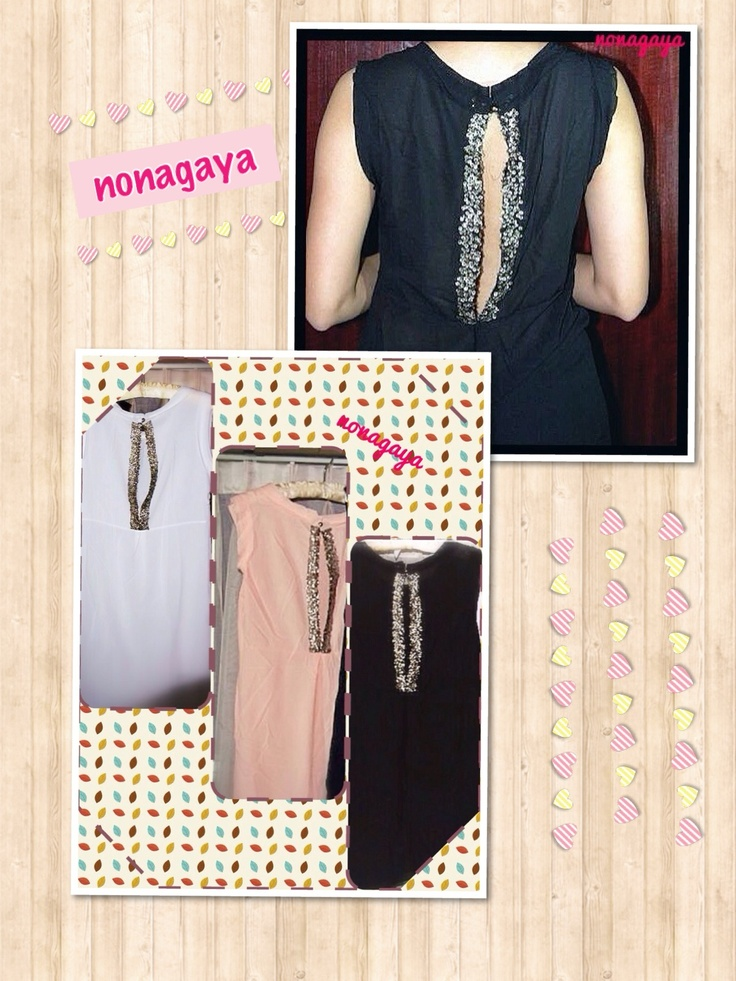 Chiffon dress with back details.  White, pink and black Rp 150.000