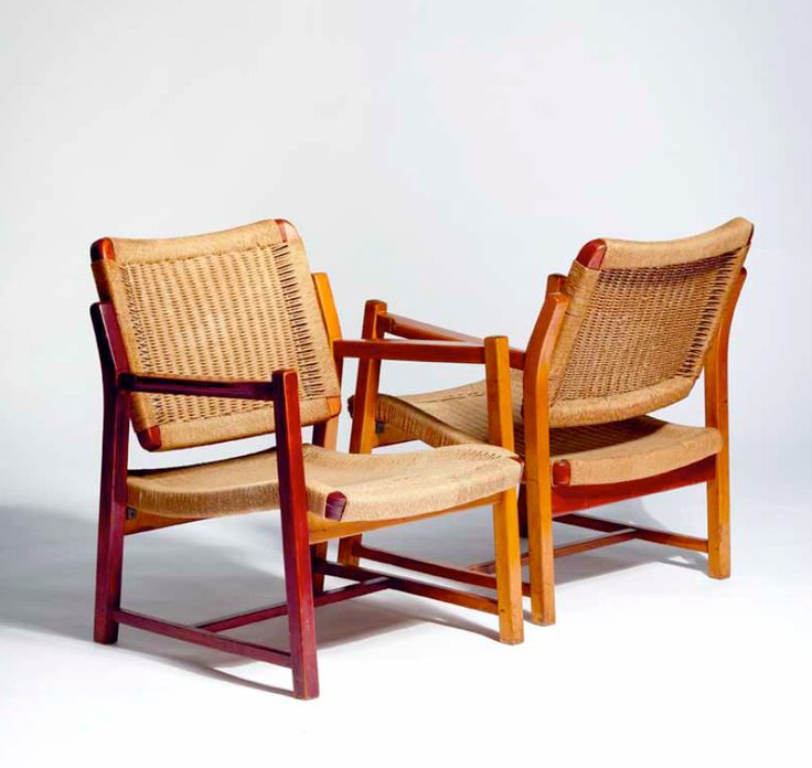 Alf Sture; #1036 Teak and Cord Armchairs, 1941.