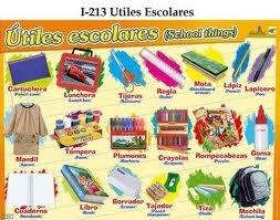 School supplies sales advertisement in Spanish