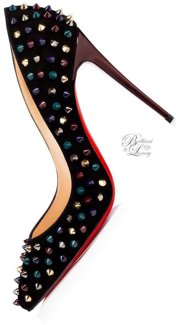 Brilliant Luxury by Emmy DE ♦Christian Louboutin Follies Spikes Veau Velours F…
