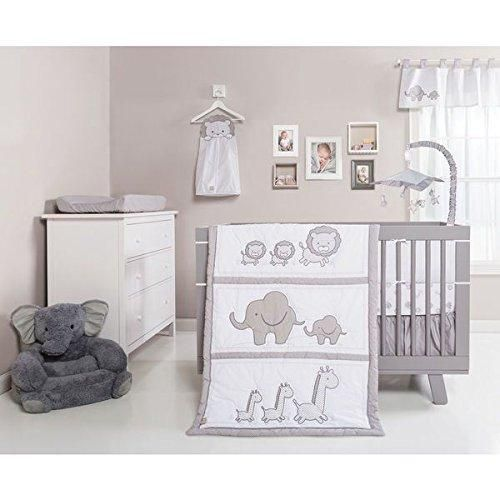 Baby Crib Bedding Set Unisex Neutral Cute Safari Animals Elephant Lions Giraffe Pretty Jungle Creatures Grey White Adorable