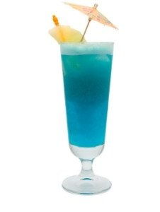 Blue Hawaiian  1 oz light rum   1 oz cream of coconut liqueur  2 oz pineapple juice  Garnish with a cherry, pineapple, and, of course, the classic tooth pick umbrella    If you, for some reason, find this recipe too stout try adding some Grenadine to sweeten the deal and make your glass a miniature punch bowl. If you find the recipe too sweet cut the amount of Blue Curacao and pineapple juice in half and enjoy.