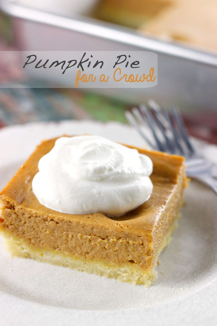 Pumpkin Pie for a Crowd | Creamy pumpkin pie squares prepared in a 13 x 9 inch pan, enough to feed a crowd via sweetasacookie.com #pumpkin #thanksgiving