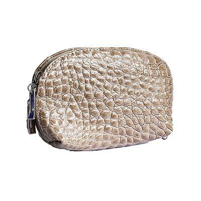 Italian Taupe Croc Leather Clutch Bag/Cosmetic Bag - £12.99